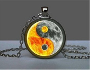 Ying Yang Necklace Glass Tile Necklace Sun and Moon Jewellery Celestial Jewerly Glass Tile Jewellery Ying Yang Jewellery Black Jewellery