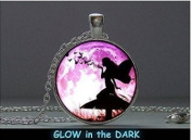 Glowing Pendant Fairy with Butterfly, Pendant Glow in the Dark, Glowing Jewellery, Glowing Necklace, Glowing Photo