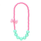 OULII Lovely Girls Bead Necklace Bowknot Candy Colours Necklace for Kids Jewellery Pendant