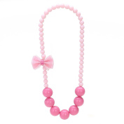 OULII Lovely Girls Bead Necklace Bowknot Candy Colours Necklace Kids Jewellery Pendant