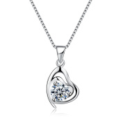 Silver Heart Necklace 925 Sterling Silver with Cubic Zirconia Love Pendant 46cm