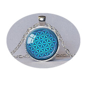 Flower of Life Pendant Turquoise Sacred Geometry Pendant Spiritual Necklace Flower-of-life Pendant Inspirational Meditation