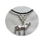 Wolf and Triquetra Choker Necklace,wolf Choker,wolf Necklace,triquetra Necklace,gift,wolf