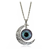 Crescent Moon Accessories Pendant Necklace Eye Glass Picture Vintage Jewellery