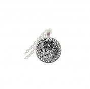 Round Glass Necklace Yin Yang Pendant Necklace Art Glass Cabochon Necklace