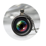 Eye in a Camera lens Necklace, Photographer Jewellery Camera , Camera Charm, Camera Lens Pendant,Art Pendant
