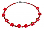 Red Flower Costume Fashion 44 cm Beaded Necklace.
