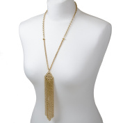Adorning Ava Gold Statement Tassel Long Pendant Necklace