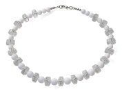 White Special Cut Cylinder Costume Fashion 44 cm Beaded Necklace.