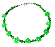 Small Green Daisy Costume Fashion 43 cm Beaded Necklace.