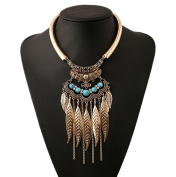 DELEY Women Retro Bohemian Turquoise Leaf Tassel Pendant Neck Strap Alloy Statement Collar Necklace