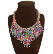 DELEY Bohemian Acrylic Seed Beads Tassel Chunky Collar Choker Statement Pendant Necklace