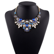 DELEY Luxury Crystal Tear Drop Beaded Chunky Bib Statement Short Choker Collar Necklace