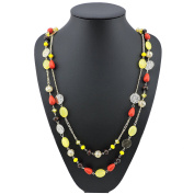BOCAR 14K Gold Plated Link Chain 2 Layer Crystal Wood Acrylic Colourful Women Party Long Necklace Gift
