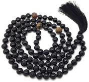 Onyx Japa Mala 108 beads 8 mm wide, with knots in between, plus 1 larger guru bead and 3 larger Tiger Eye spacer beads, 36 inches in length, on strong thread, for use in Meditation or as a Necklace