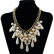 Kalse White Simulated Raindrop Pearl Pendant Statement Bib Chunky Gold Tone Chain Necklace