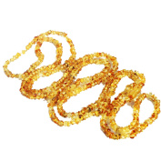 Long Roundish Golden Amber Necklace, length