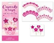 Cupcake Wraps & Decorative Picks - 12 Wraps 24 Picks Assorted Designs