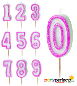 Pink Glitz Age Candle - Choose From Numbers 0-9 - Cake Birthday