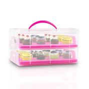Klarstein Uss Pink Cookie Cake Transportion Carrier Muffins Cupcake Storage Box