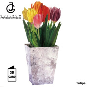 3D greeting card flower series tulip (GOLLNOW gift card / message card / greeting / message / card /3D card / solid card) with fixed form size envelope