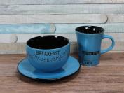 Blue Breakfast Set Mug Bowl And Plate Set Coffee Tea Time
