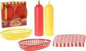 Retro Diner Serving Set Bbq Condiment Set With Napkins Ideal For Parties