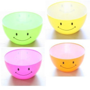 Smiley Face Neon Coloured Childrens Plastic Bowls