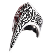 PAMTIER Mens Stainless Steel Punk Rock Gothic Biker Armour Finger Ring Vintage Flower Carved