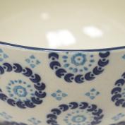 Popular Folk Ceramic Bowl - Modern & Creative Stamped Pattern Bowl - 7 X 13 Cm