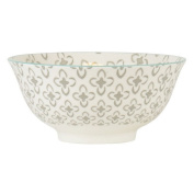 Medium White Bowl Anna With Grey Patter And Mint Rim By Ib Laursen