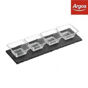 Premier Housewares Slate Tray Set, 4 Fluted Glass Bowls:the Official Argos Store