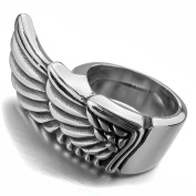 MENDINO Mens Angel Wings Stainless Steel Ring Punk Rock Biker Cast Band Silver Tone Colour Polished Solid with 1X Velvet Bag