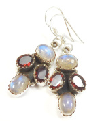 Beautiful Things For Women Oval Cut Garnet and Rainbow Moonstone Gemstone Stamped 925 Sterling Silver Earrings