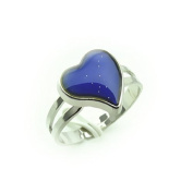 Jiaqinsheng Colour Changing Silver-Plated Heart-Shaped Mood Ring--Feartures An Adjustable Ring Band