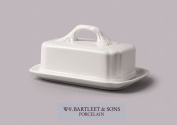 Wm Bartleet And Sons Ceramic Butter Dish Box With Leaf Design Handle
