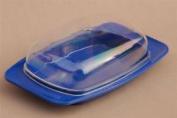 Kitchen Utensil Blue Plastic Butter Dish+clear Lid