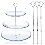 3 Cake Plate Stand Centre Handle Wedding Party Fitting Silver Fan
