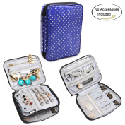 Teamoy Jewellery Organiser, Travel Jewellery Case with Storage Space for Necklaces, Bracelets, Earrings, Rings, Chains and more, Well Made, Lightweight and Easy to Carry, Purple Dots