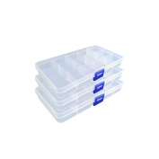 ESYN Adjustable 15 Compartment Plastic Storage Box Jewellery Earring Beads Organiser Pack of 3 17.4x9.8x2.2cm