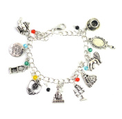 Beauty And The Beast Charm Bracelet - Movie Inspired Silver Bracelet For Girls in Gift Box