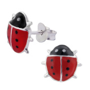Laimons Childrens' Earrings Childrens' Jewellery ladybird red, black 925 Sterling silver