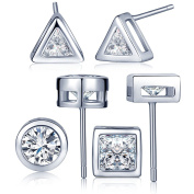 Infinite U 3 Pairs 925 Sterling Silver Cubic Zirconia Triangle/Round/Square Ear Studs Earring Set Earbob for Women/Girls