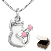 Clever Jewellery Set Silver Cat 13 mm Pendant with Pink Cubic Zirconia and Venice Chain 40 CM Sterling Silver 925 for Children in a Pouch