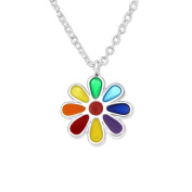 Rainbow Flower Necklace - Sterling Silver - for Children/Teenagers
