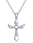 Infinite U Elegant Angel Wings Heart Cross Pendant 925 Sterling Silver Rhodium Plated Cubic Zirconia Necklace for Women/Girls