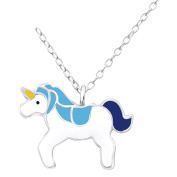 Laimons Childrens' Pendant with Chain unicorn blue, yellow, white 925 Sterling silver