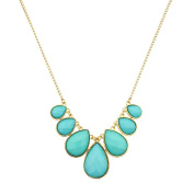Lux Accessories Gold Tone and Turquoise Teardrop Stone Statement Necklace