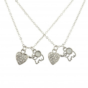 Lux Accessories Silver Tone White Opal Elephant Pave Heart Best Friends Set 2PC