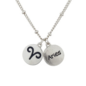 Lux Accessories Silvertone Aries and Astrological Sign Charm Necklace